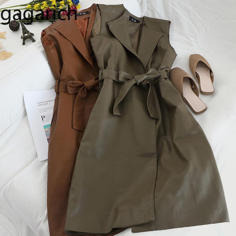 Gagarich Women Vests Sleeveless Medium Long Belt Waist Female Elegant Autumn Winter PU Leather Loose Vests 2020 1