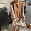 Pullover vest sweater Autumn Winter short Knitted Women Sweaters New o neck Girls Pullover vest sweater Autumn Winter short Knitted Women Sweaters vest Sleeveless Warm Sweater Casual oversize