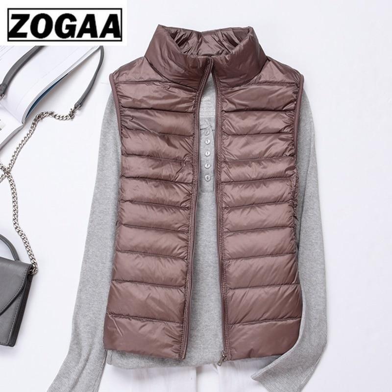 Zogaa Brand Woman Winter Vest Cotton Sleeveless Womens Jackets 12 Colors Ultralight Down Jacket Puffer Vest Outwear Warm Coat 3