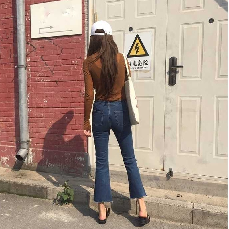 Vintage High Waisted Flare Jeans Woman Ankle Denim Trousers Slim Elegant High Rise Wide Leg Jeans For Women Ladies All-Match 2