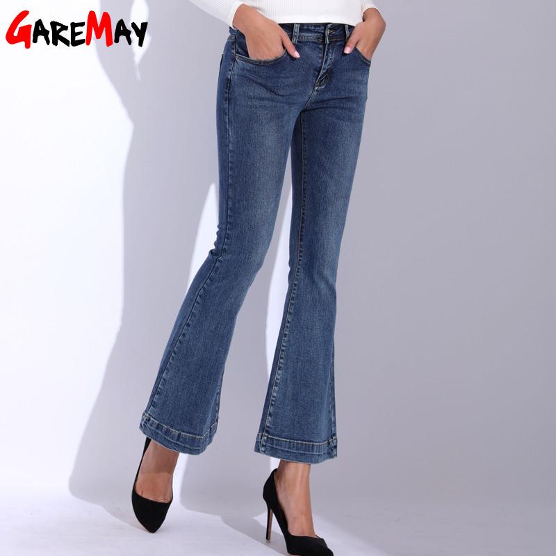 GAREMAY Denim Women Flare Jeans Causal Elastic Blue Bell Bottom Jeans Femme 2018 High Waist Slim Skinny Pants Women's Trousers 3