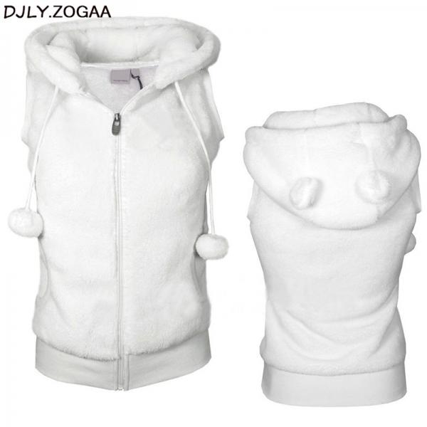 Women Winter Warm Vests Coat Soft Fleece Hooded Outwear Female Fashion Casual Thicken Vest Jacket Solid Women Fur Vest Coat