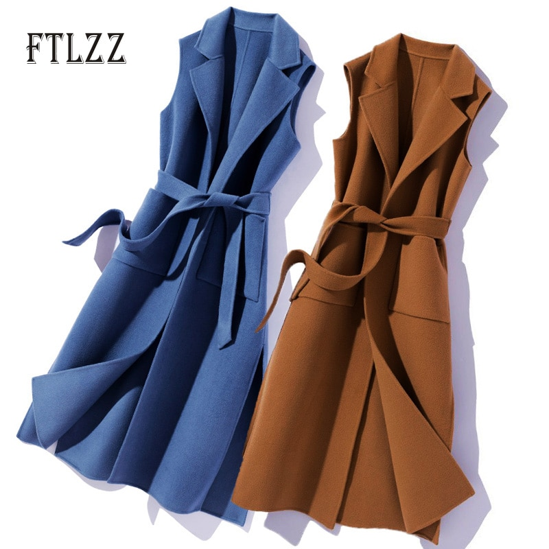 New 2020 Spring Autumn Sleeveless Vest Women Slim With Blet Meidum Long Outerwear Elegant Turn Down Collar Woman Vests Mujer 1