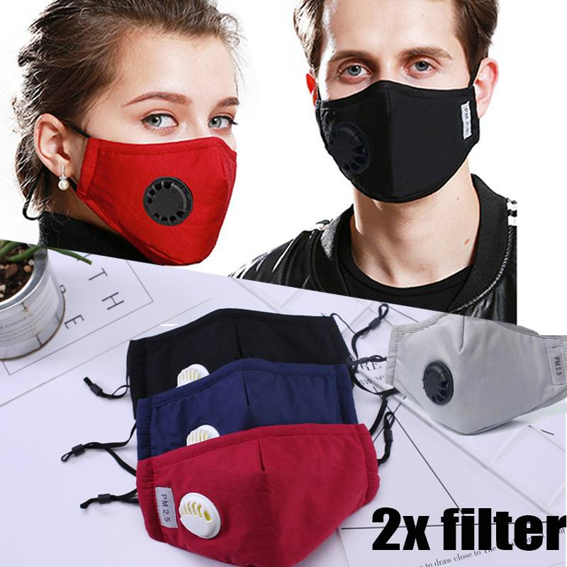 Respirator Mask Washable Reusable Cotton Face Mask With Breathing Valve Fliter Pad Anti Dust PM2.5 Sport Bike Cycling Bicycle 3