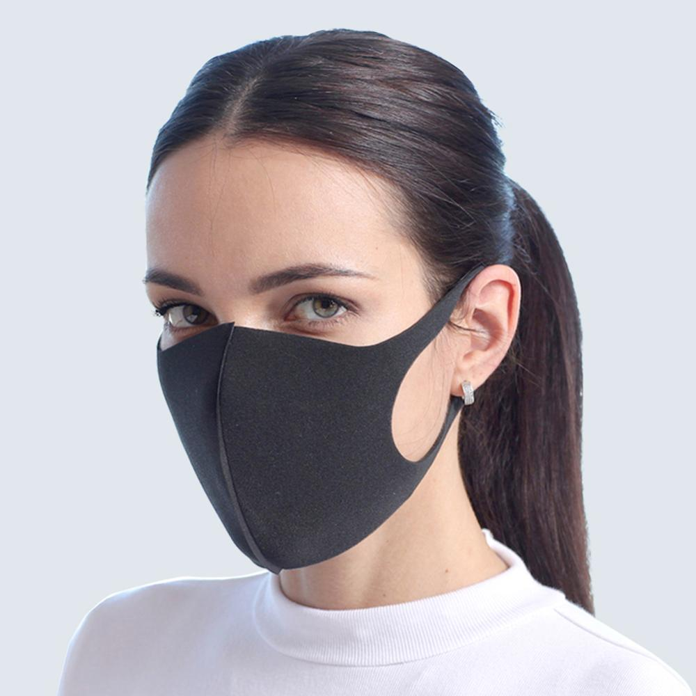 Cotton Face Mask breathable Stretchable Ear Loops Protection Dustproof Washable and Reusable Black Durable And Wear-resistant 2