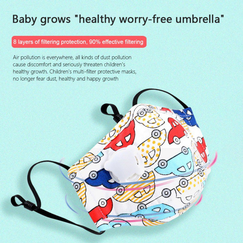 1PC Children Mask With Breath Design Replaceable Filter Anti Dust Mouth Mask PM2.5 Respirator Kids Face Mask 3