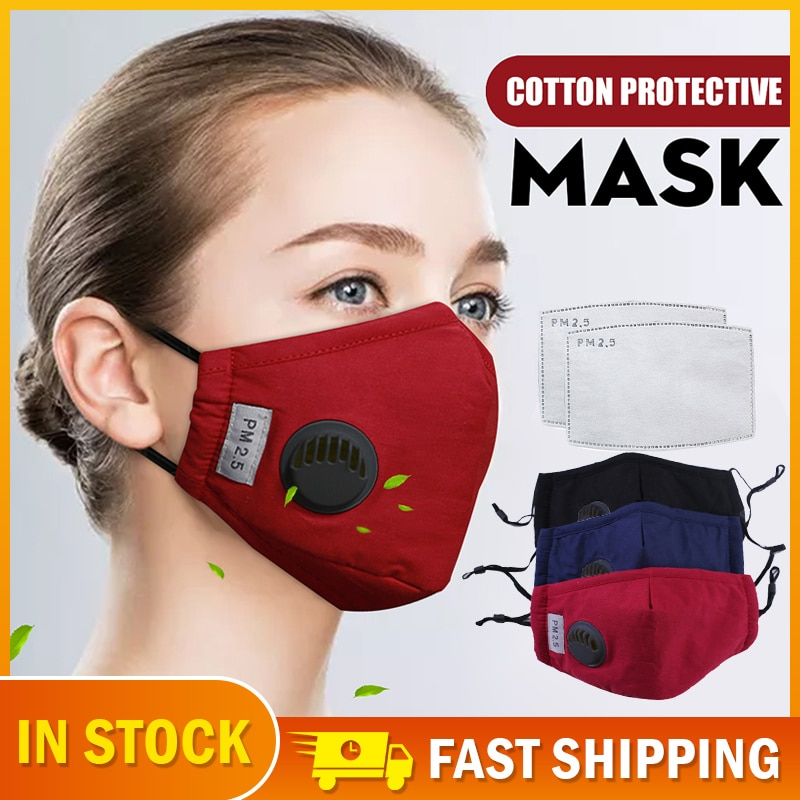 Respirator Mask Washable Reusable Cotton Face Mask With Breathing Valve Fliter Pad Anti Dust PM2.5 Sport Bike Cycling Bicycle 1
