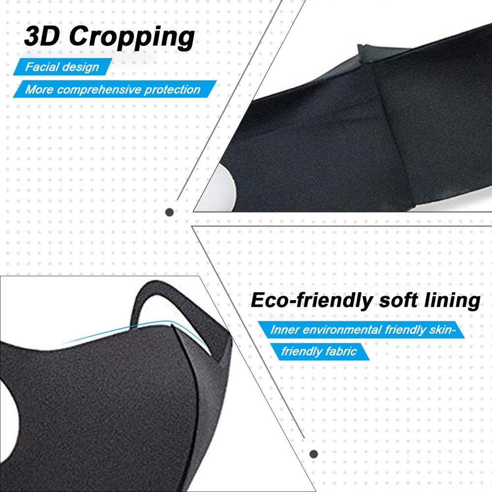 10pcs/pack Sponge Masks Washable Anti-dust Face Mask 3D Design Elastic Black Mask Mouth Windproof Reusable Breathable Mask 3