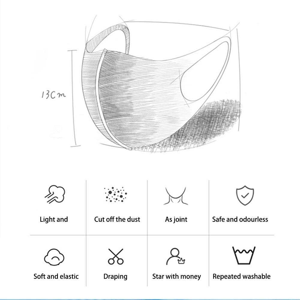 3Pcs Washable Reusable Anti-dust Mouth Face Masks Camouflage Sponge Mask Anti Cold Mask Humanized Design 3