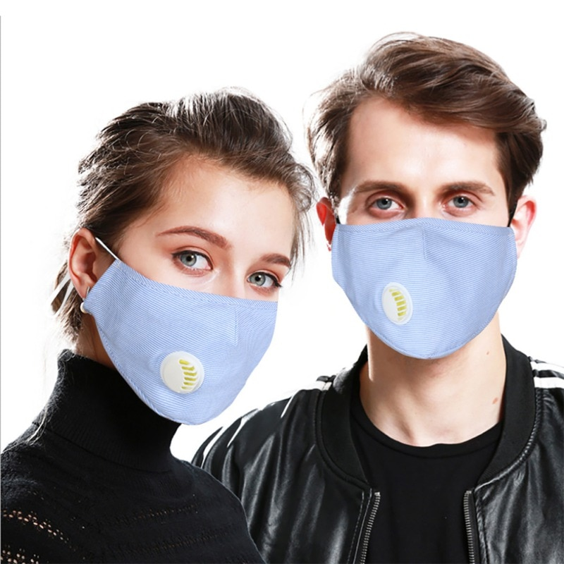 Washable Adjustable Dust Mask with 2 Replaceable Filters Anti Pollution PM2.5 Breathable Respirator Cotton Face Mask