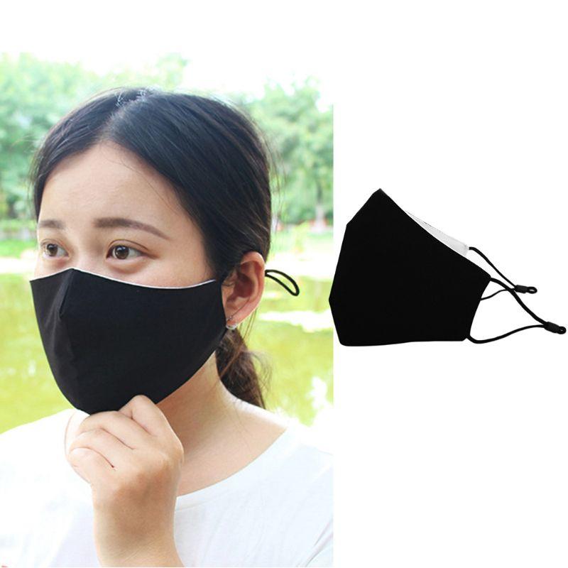 3Pcs/Set Adult Kids Black Cotton Face Mask Breathable Dustproof Adjustable Earloop Double Layer Washable 3D Mouth-Muffle 2