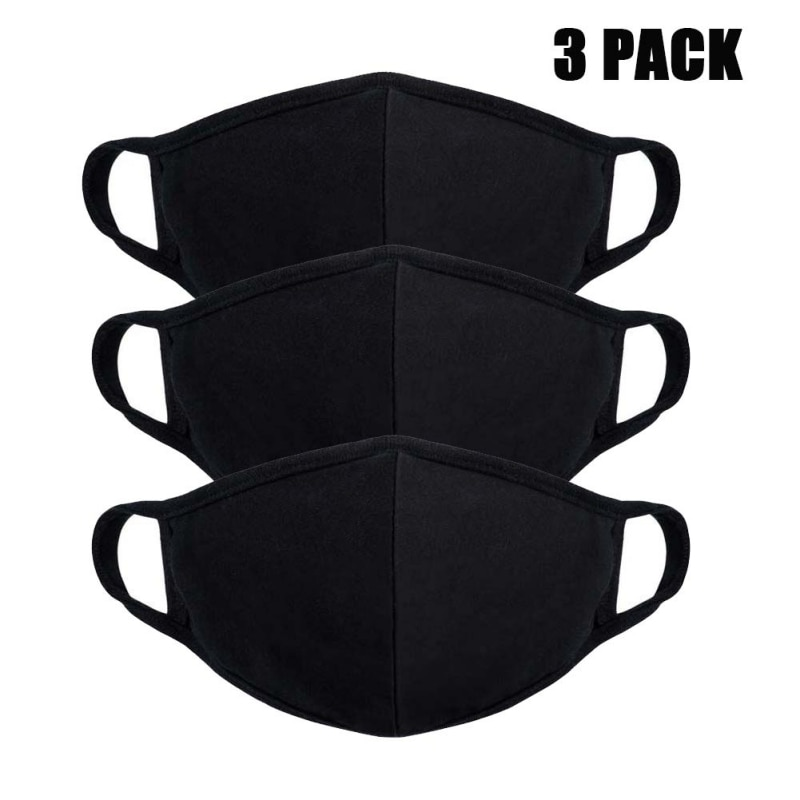 2pcs Safety Mouth Mask Adjustable Anti Dust Face Mouth Mask Black Cotton Face Mask For Outdoor Cycling Camping Travel 2