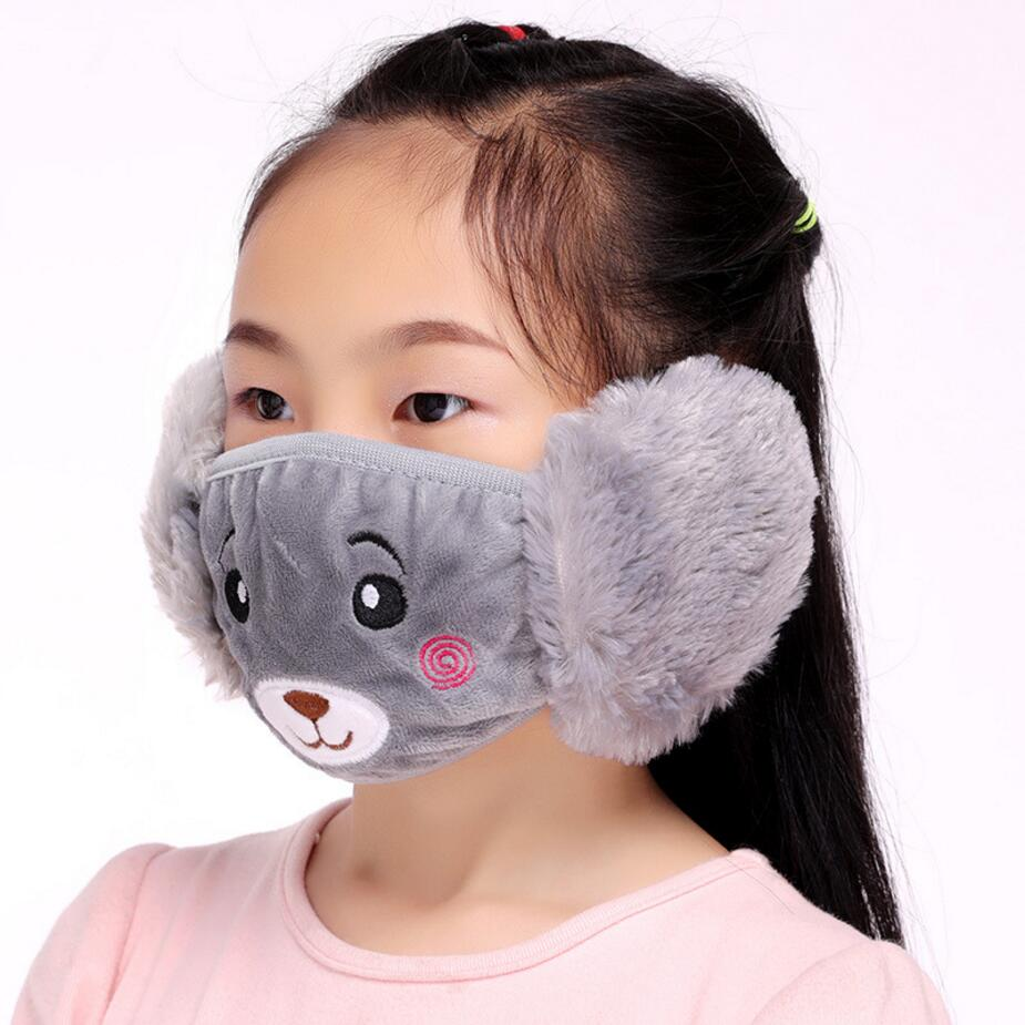 Cute bear Ear protective kids mouth mask Windproof Mouth-muffle anti dust winter masks Children Anti Haze Flu cotton Face masks 1