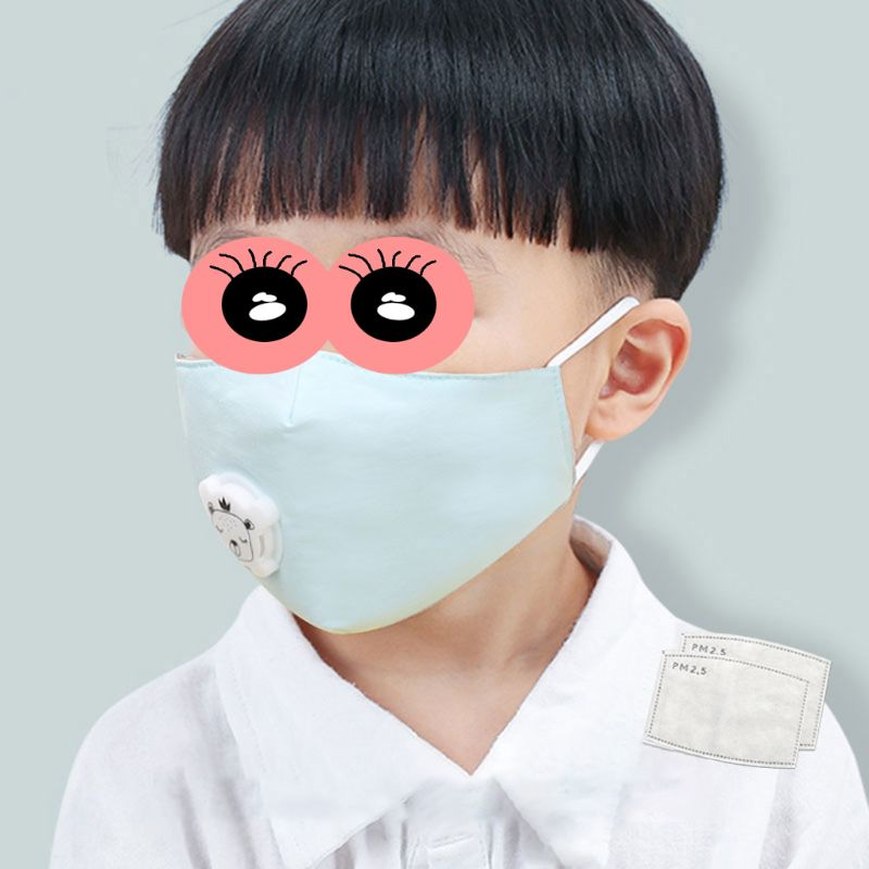 Kids Anti-dust Pure Cotton Face Mask 3 Layer Activated Carbon Breathable Filter Reusable Mouth Cover with Breathing Valve 2