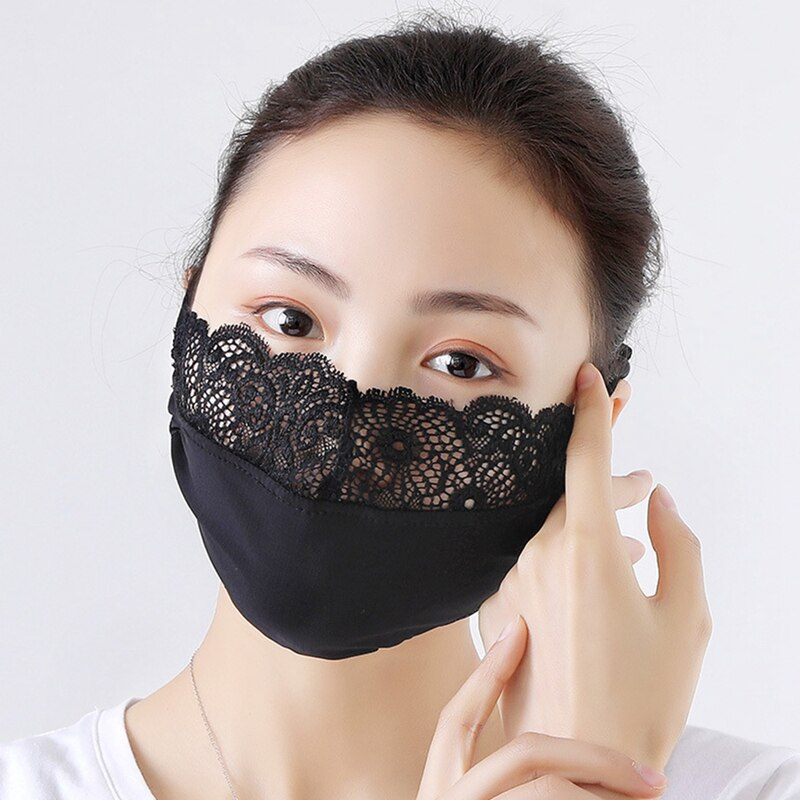 3pcs Summer Washable Ice Silk Cotton Face Mask Thin Sunscreen Vintage Lace Masks Lady's Dust Protection Riding Mouth-Muffle 2