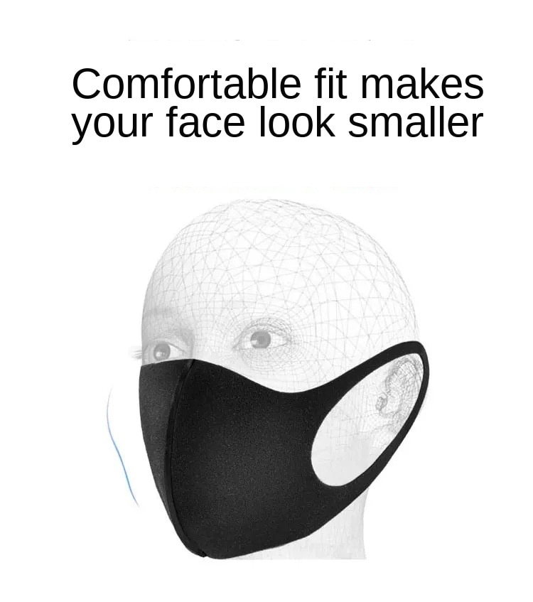 100 Pcs Washable Dust ProofReusable Face Mouth Mask , Breathable Super Soft Fabric, Fashion Slim Face Design 3
