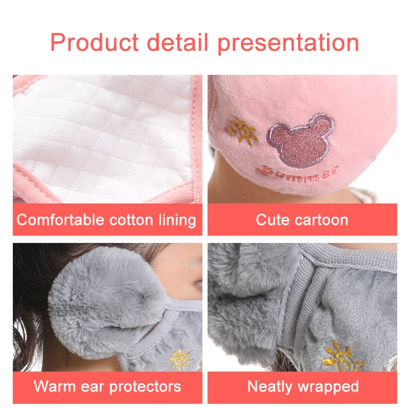 Cute bear Ear protective kids mouth mask Windproof Mouth-muffle anti dust winter masks Children Anti Haze Flu cotton Face masks 3