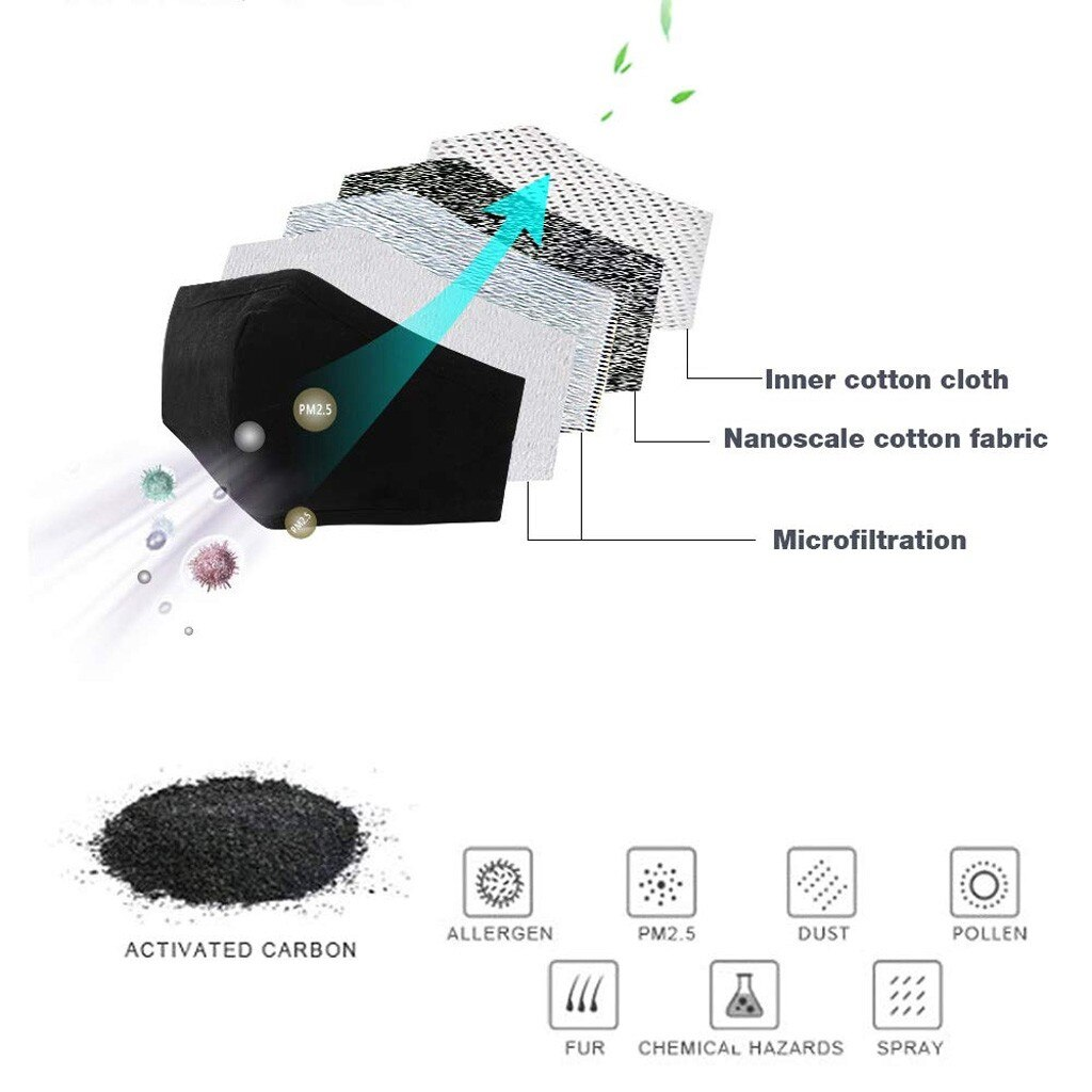 Dust Mask Cotton Face Mask PM2.5 Activated Carbon Mask Washable And Reusable Lot Antivirus And Antibacterial 3