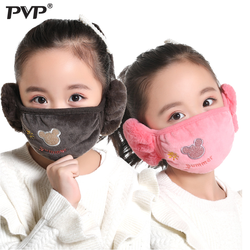 Cute bear Ear protective kids mouth mask Windproof Mouth-muffle anti dust winter masks Children Anti Haze Flu cotton Face masks 1