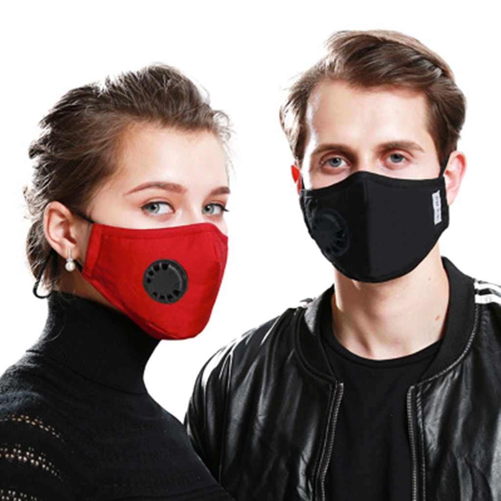 A Cotton Face Mask Breath Valve PM 2.5 Mouth Mask Anti-dust Activated Carbon Mask With Filter-Washable Reusable respirator 2