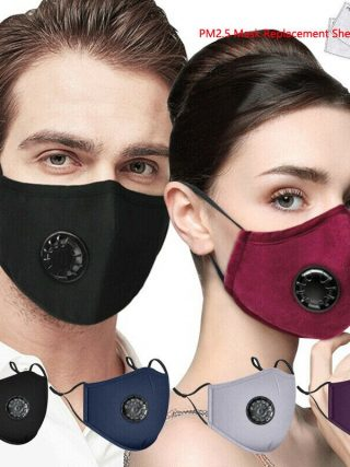 Cotton Face Mask With Breathing Valve Anti-dust PM 2.5 Dustproof Mask with 2pcs Activated Carbon Filter Respirator Mouth-muffle