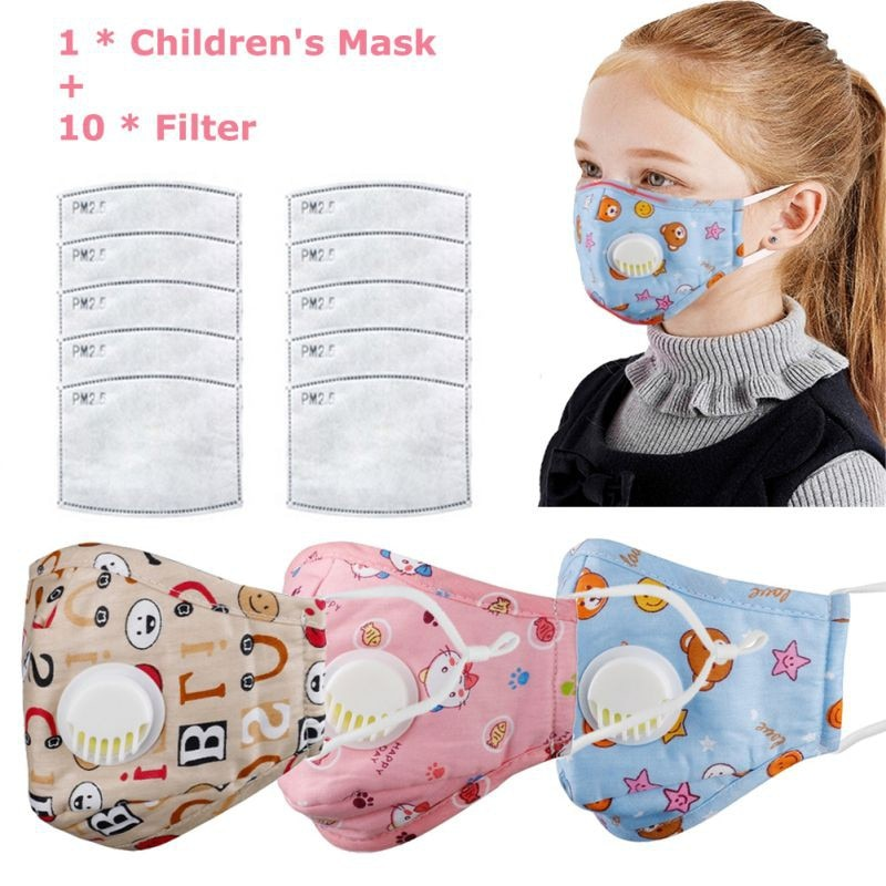 Children Mask With Breath Design Replaceable Filter Anti Dust Mouth Mask PM2.5 Respirator Kids Comfortable Health Care Face Mask 3