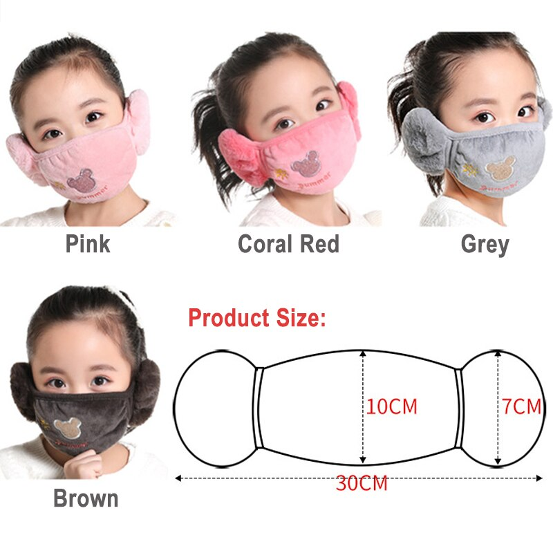 Cute bear Ear protective kids mouth mask Windproof Mouth-muffle anti dust winter masks Children Anti Haze Flu cotton Face masks 2