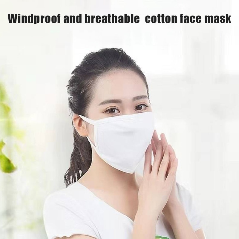 3Pcs Lots Cotton Face Mask For Adult Dual Layer Breathable Filter Anti Pollution Germ Mouth Mask Dustproof Washable PM2.5 Masks 3
