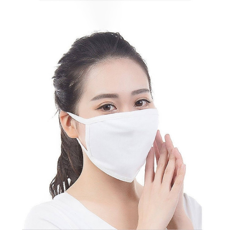 Unisex Reuseable Cotton Face Mask White Two-layer Breathable Cotton Face Mask For Dust Fog And Haze 1