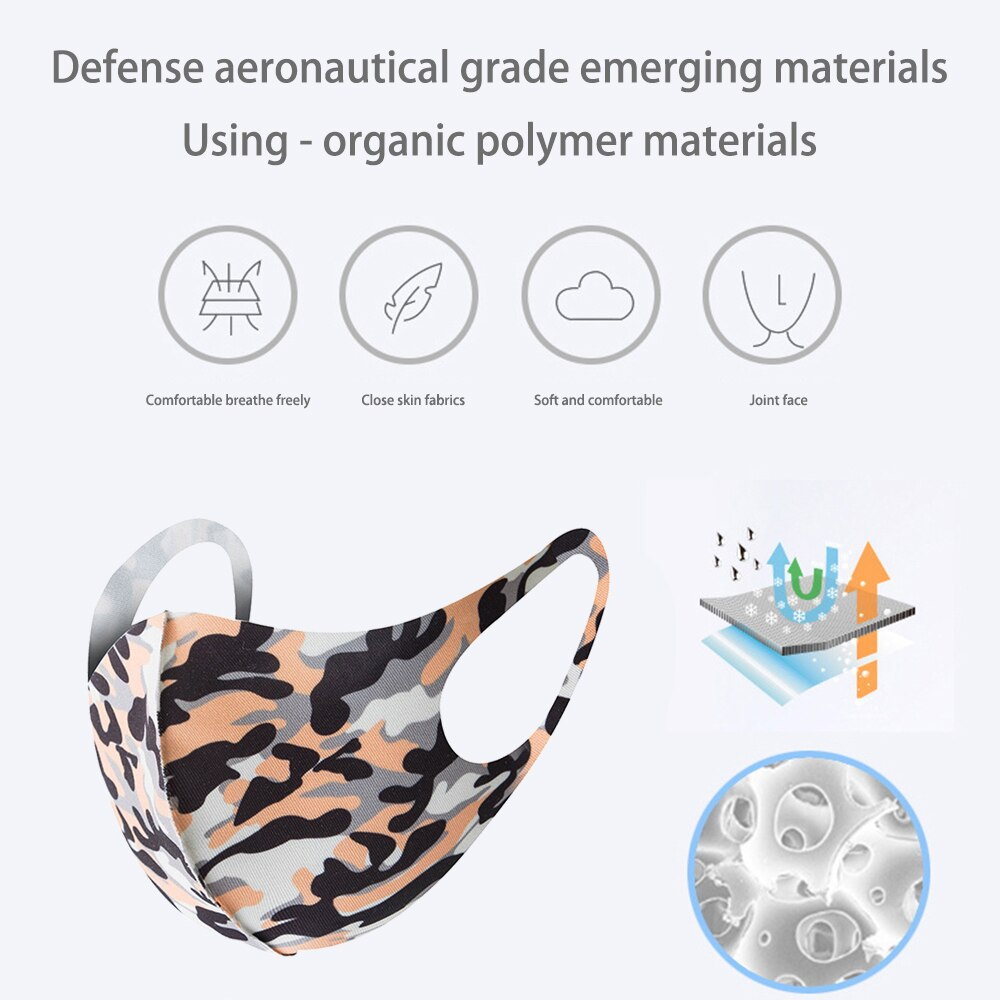 3Pcs Face Mask Washable Reusable Anti-dust Mouth Face Masks Camouflage Sponge Mask Anti Cold Mask Humanized Design 3