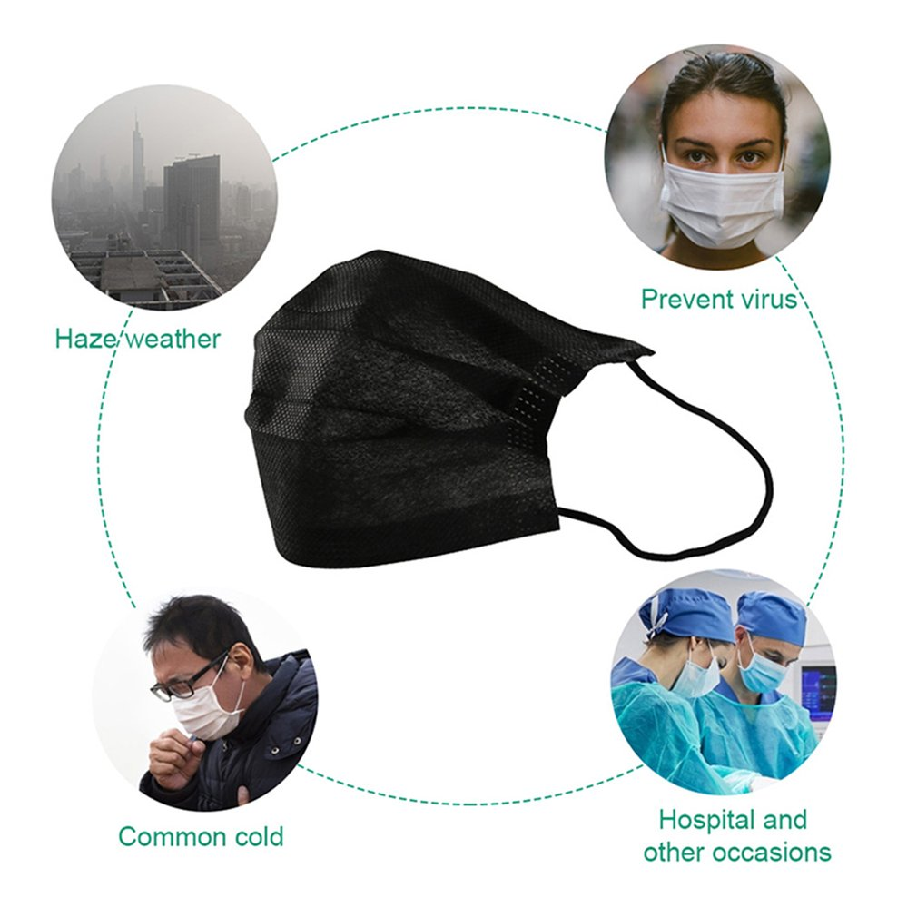 Disposable Protective Face Mask High Efficiency Filtration Adjustable 3D Fitting Design Breathable And Comfortable Black 50 Pcs 3