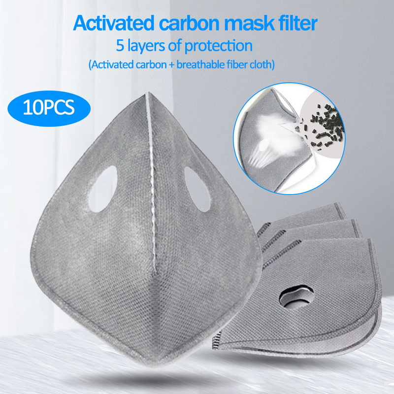 10pcs/bag Cycling Face Masks Filter MTB Road Equip Anti-Dust PM2.5 Replacement With Active Carbon Mouth Mask Filter Set Insert 1