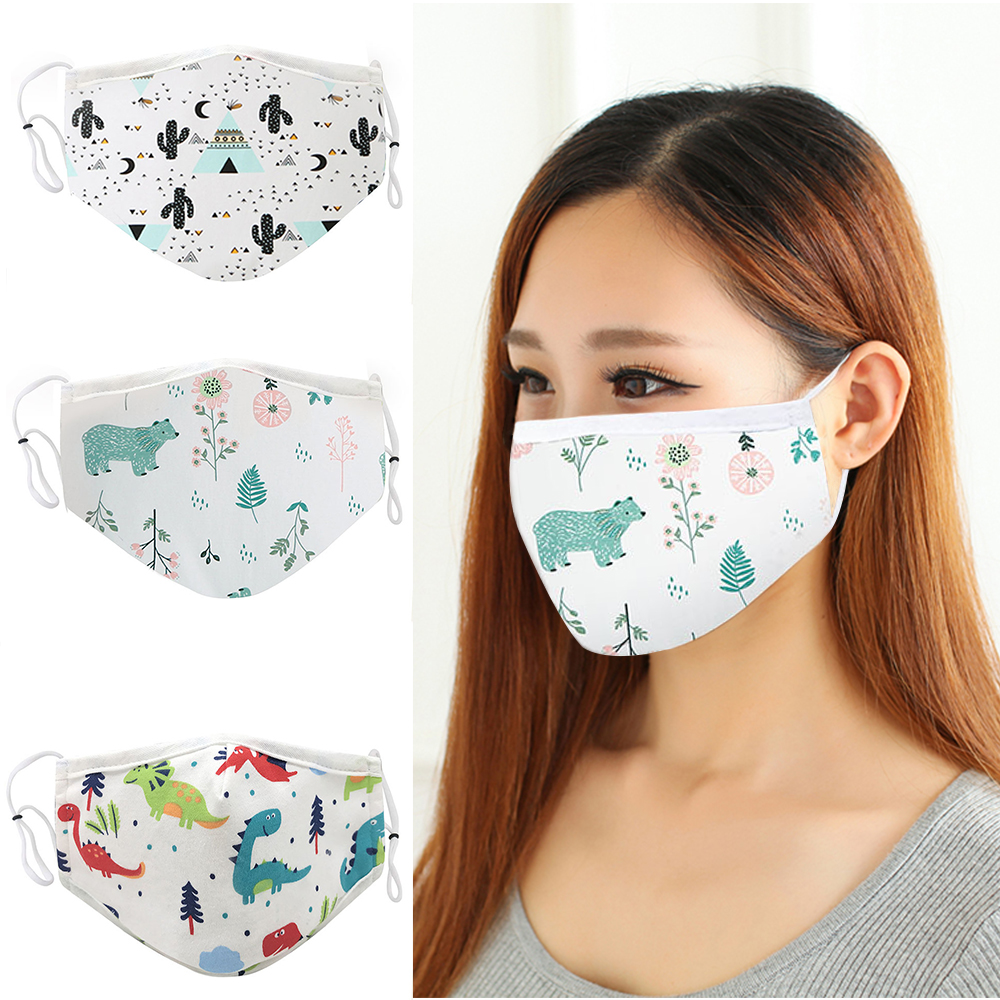 4pcs Reusable Cotton Face Mask Washable Dustproof Mouth Masks Adjustable Strings Cartoon Masks For Men Women Anti Dust Cover 2