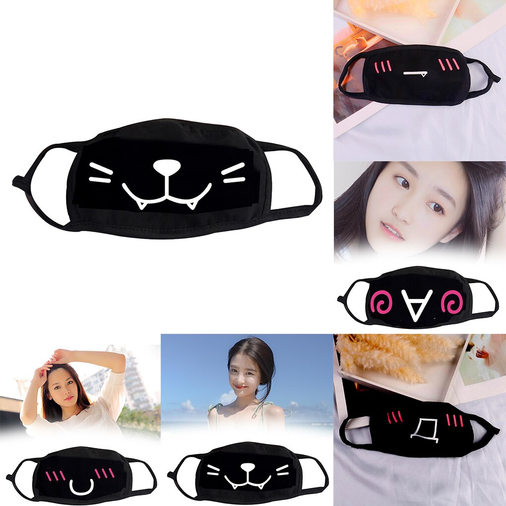 Eco-friendly Non-woven Face mask Cute Cartoon expression Print Design Dual Layer Filter Soft Breathable Mouth Mask 3