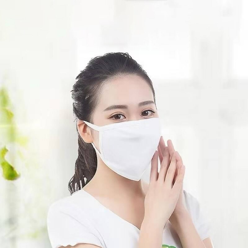Unisex Reuseable Cotton Face Mask White Two-layer Breathable Cotton Face Mask For Dust Fog And Haze 3