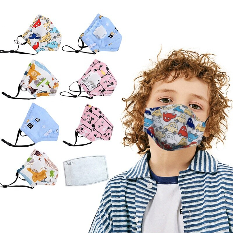 8PCS Children Mask With Breath Design Replaceable Filter Anti Dust Mouth Mask PM2.5 Respirator Kids Face Mask