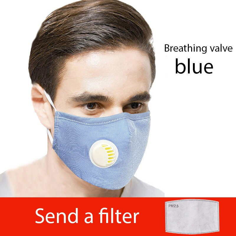 Black Blue PM2.5 Cotton Face Mask with a Filter Mouth Mask Breathing Valve 1