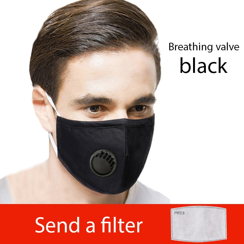 Black Blue PM2.5 Cotton Face Mask with a Filter Mouth Mask Breathing Valve