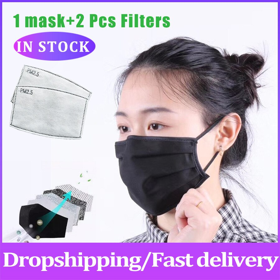 Cotton face mask PM2.5 Mask dust mask Activated carbon filter Windproof Mouth-muffle Protective proof adult child masks Reusable 1