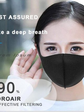 10pcs/pack Sponge Masks Washable Anti-dust Face Mask 3D Design Elastic Black Mask Mouth Windproof Reusable Breathable Mask