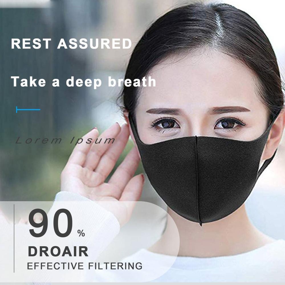10pcs/pack Sponge Masks Washable Anti-dust Face Mask 3D Design Elastic Black Mask Mouth Windproof Reusable Breathable Mask