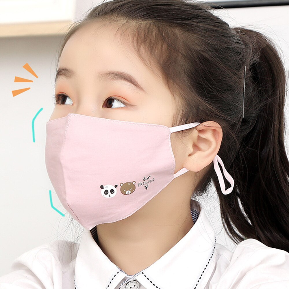 6-10 Y Kids Cotton Face Mask Anti-Pollution Children Cartoon Breathable Mouth Masks Adjustable Reuseable Anti-Dust Mask 1 Piece 1