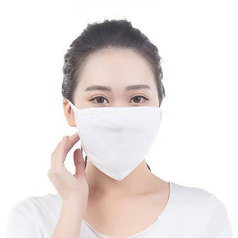 Unisex Reuseable Cotton Face Mask White Two-layer Breathable Cotton Face Mask For Dust Fog And Haze 2
