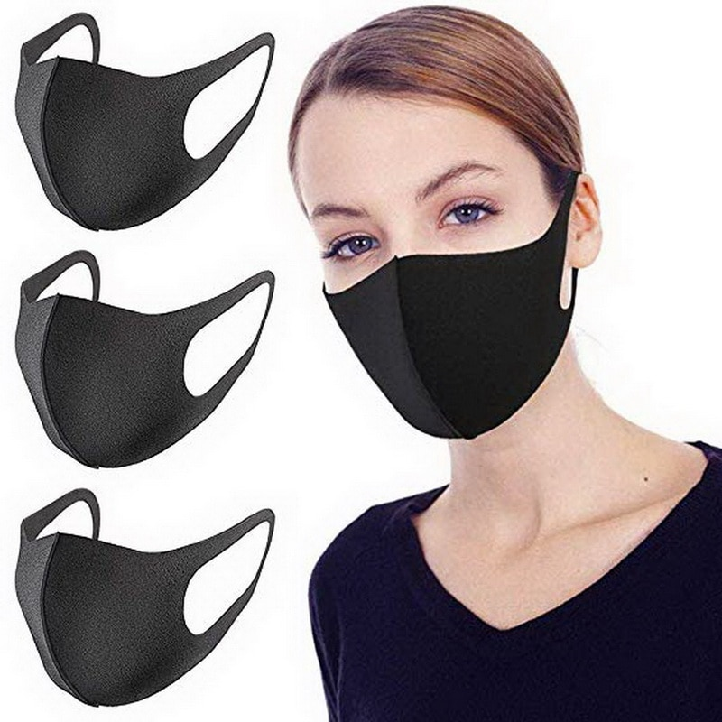 Black Anti dust Mouth Mask Unisex Soft Cotton Face Mask Muffle Mask Anime Mask for Cycling Camping Travel 2