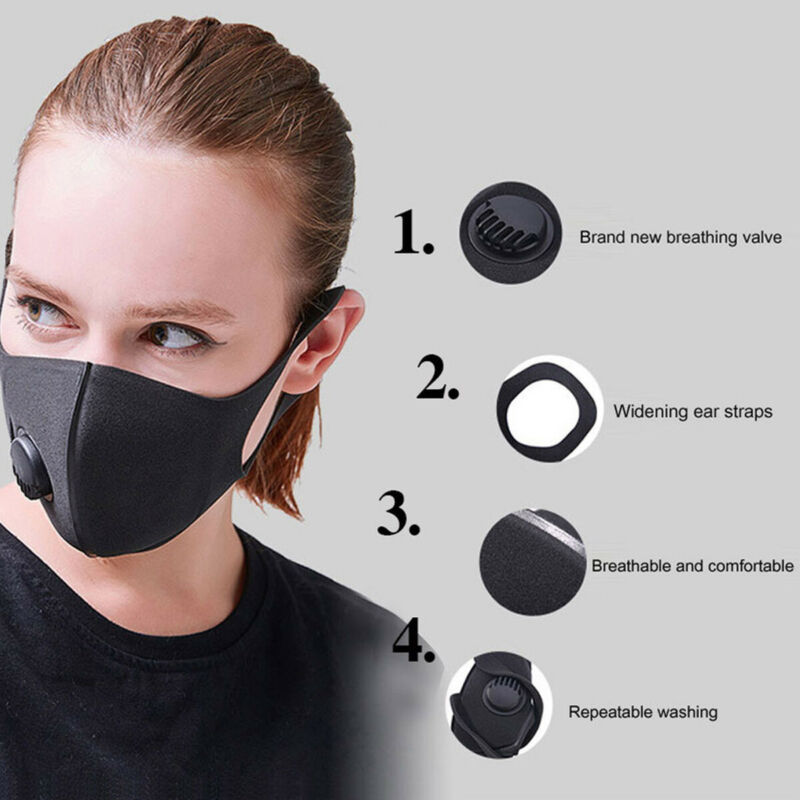 Fashion Solid Reusable Cotton Face Mask Activated Carbon Mask With Filter-Washable Unisex 1