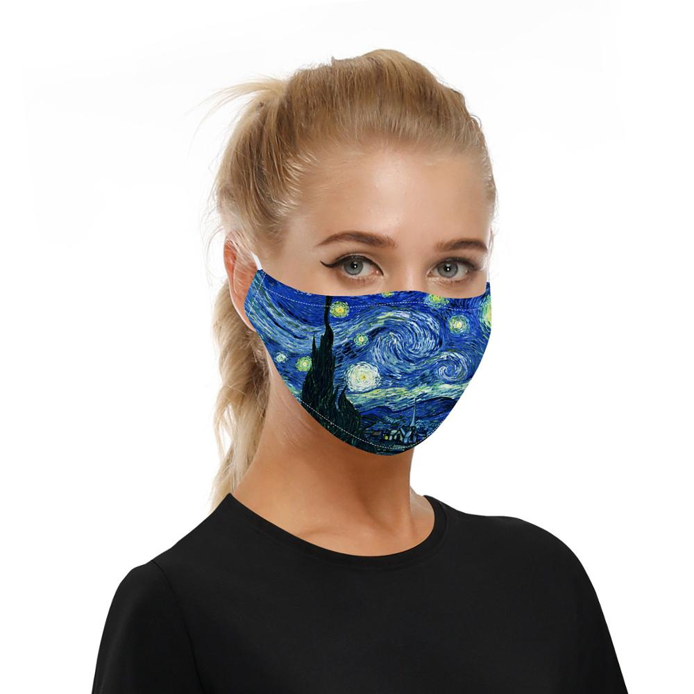 PM 2.5 Bacteria-proof filter mouth mask washable night sky scenery print face mask Anti bacterial reusable cotton face mask 3