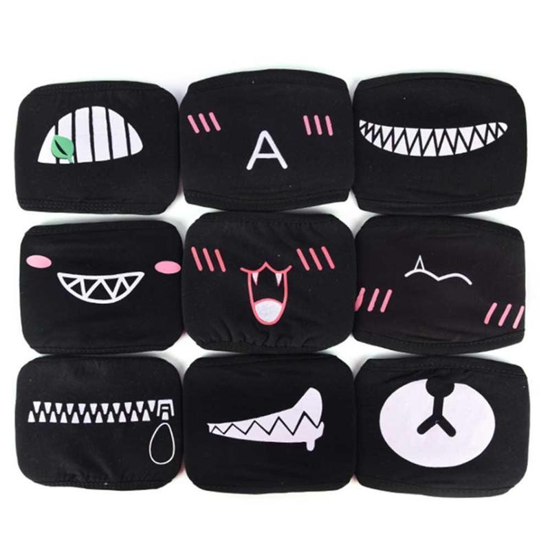 1PC Dustproof Cotton Mouth Face Mask Unisex Korean Style Kpop Bear Black Cycling Anti-Dust Protective Facial Cotton Face Masks 3