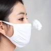 Unisex Reuseable Cotton Face Mask White Two-layer Breathable Cotton Face Mask For Dust Fog And Haze