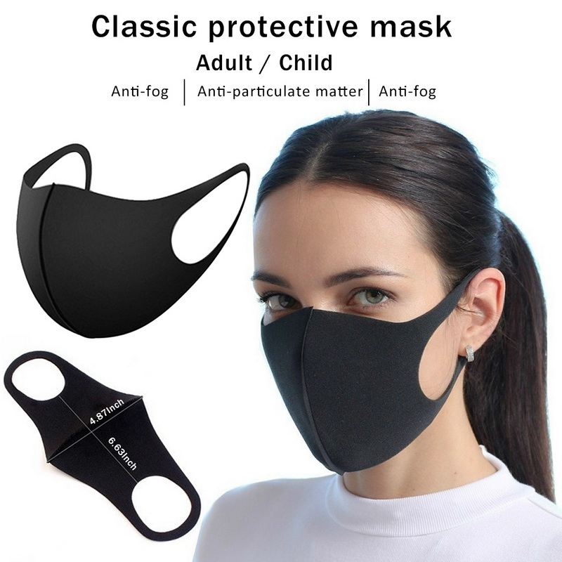 Black Anti dust Mouth Mask Unisex Soft Cotton Face Mask Muffle Mask Anime Mask for Cycling Camping Travel 1