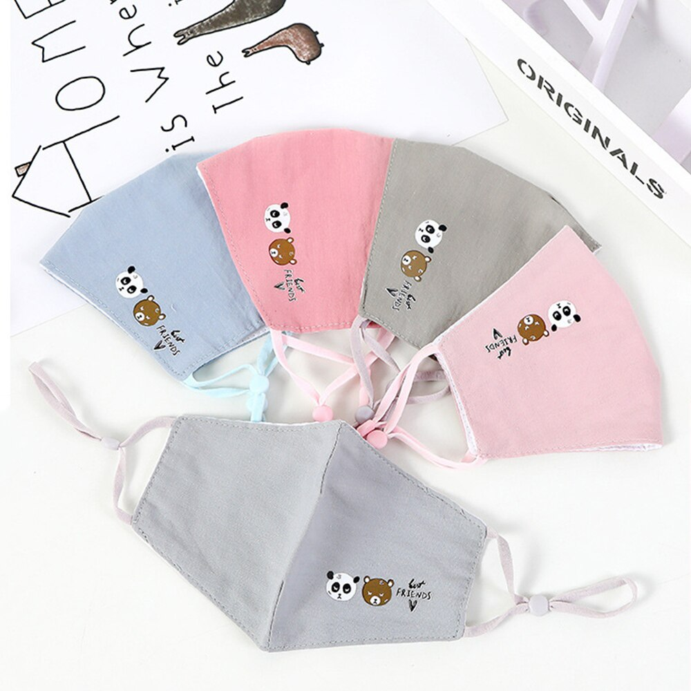 6-10 Y Kids Cotton Face Mask Anti-Pollution Children Cartoon Breathable Mouth Masks Adjustable Reuseable Anti-Dust Mask 1 Piece